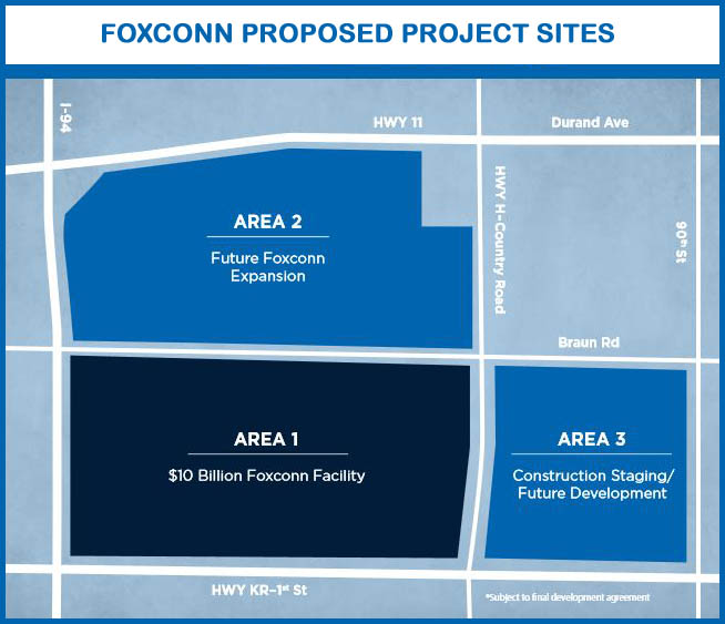 Wisconsin agreement offers Foxconn a $100 million development incentive over 10 years