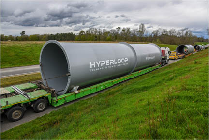 Full-size tubes designed to move people and freight arrive at Hyperloop Transportation Technologies