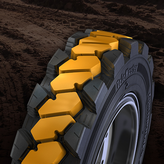 JLG has partnered with Continental Tires to offer the TeleMaster tire
