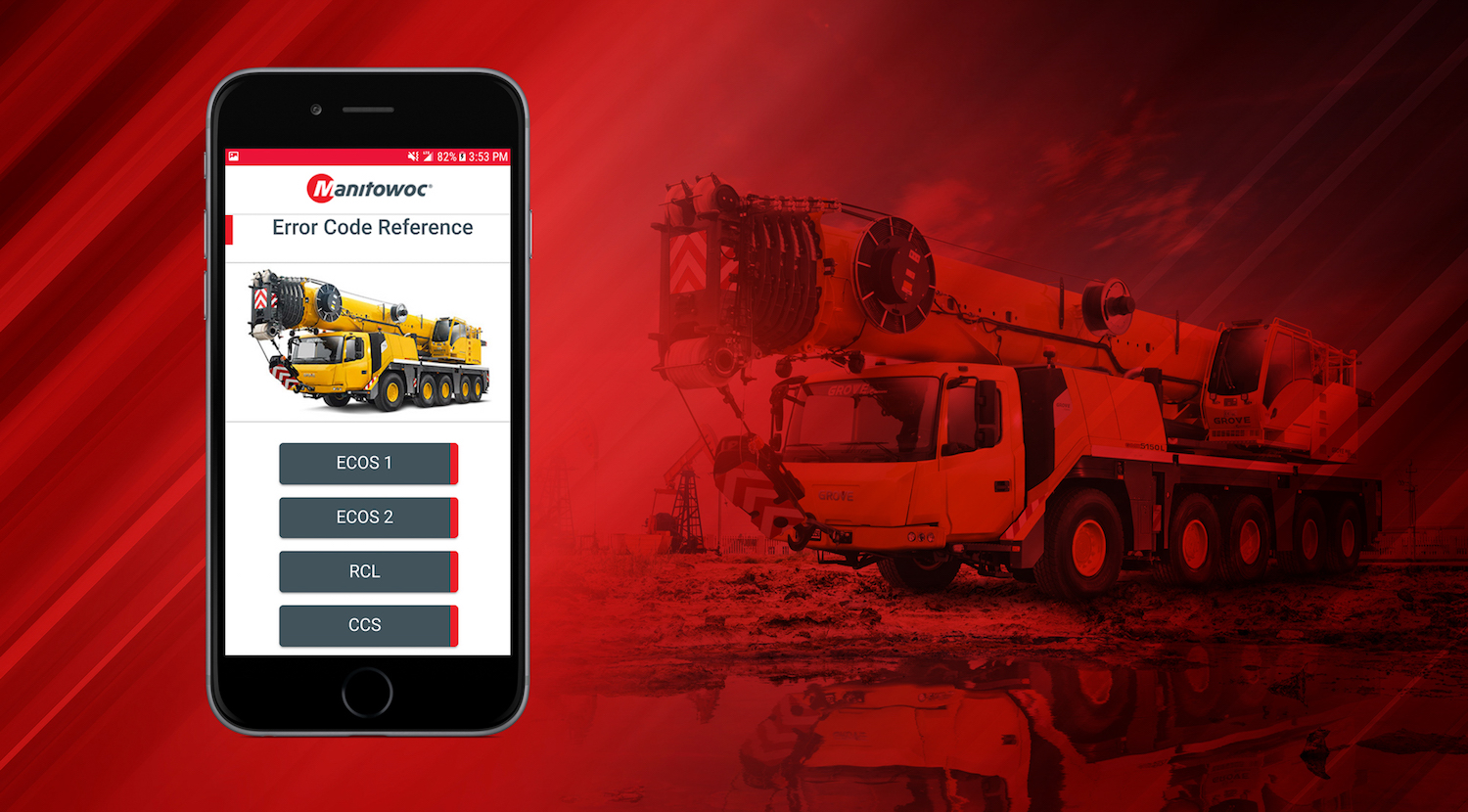 Manitowoc app enables customers to interpret diagnostic codes generated by on-board control systems.