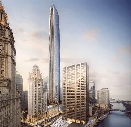 A new 1,422 foot skyscraper may be built on what is now a parking lot on the east side of Trib Tower