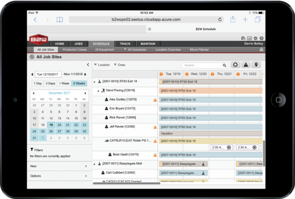 B2W Schedule centralizes resource planning, scheduling, and dispatching processes and moves them online to allow real-time collaboration.