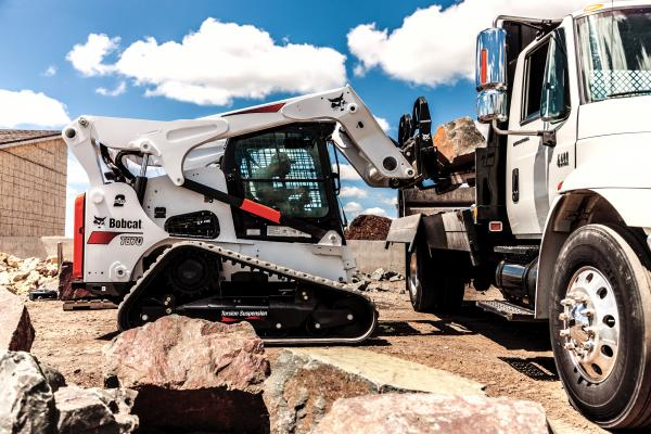 The Bobcat pallet fork frame features an integrated walk-through design for easier operator entry and exit to and from the loader cab.