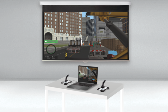 The Vortex Edge laptop simulator is a compact training tool that allows construction equipment operator trainers to deploy virtual equipment in classrooms, in order to demonstrate machine components, safe operator practices, and equipment behavior.