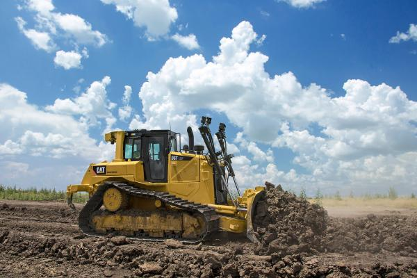 The 215-horsepower Cat D6T dozer has a fully automatic, four-speed powershift transmission