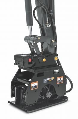 Designed for trench, slope, and excavation compaction applications, the PC4, PC7, and PC10 plate compactor models are compatible with most John Deere compact excavators and backhoes, as well as most competitive models.