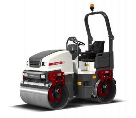 Dynapac CC1100/CC1200 generation VI tandem drum asphalt roller features a cross-mounted engine