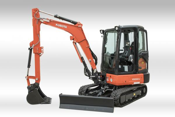 Kubota KX033-4 excavator is available with an extendable dipper arm