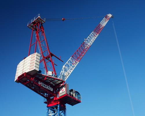 Raimondi LR330 luffing jib tower crane incorporates the company's new equilateral-triangle jib design.