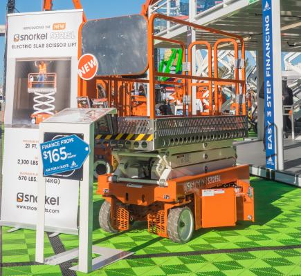 Snorkel says its S3215L lightweight electric scissor lift is designed to deliver the same heavy duty durability of a construction type electric slab scissor lift