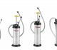 A line of fluid extractors functions as transfer pumps designed to move fluids through dipstick tubes and filler ports.
