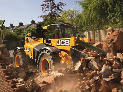 Tool carrier-type telehandlers, such as this JCB 512, can handle buckets and other attachments to increase job site versatility.