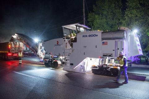 Night milling is commonplace on large Interstate jobs