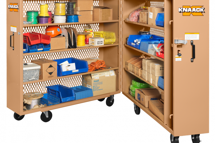 Knaack Tool Kage line of job site storage cabinets is clad in 16-gauge diamond-punched steel.