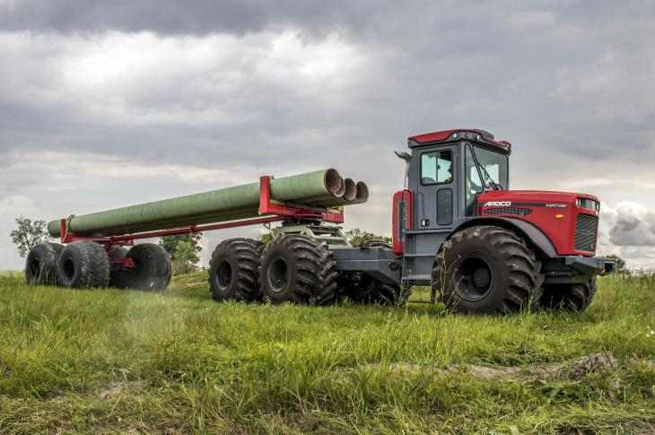 The ARDCO pipe trailer is designed for use with the company's AMT 600 articulating multipurpose truck