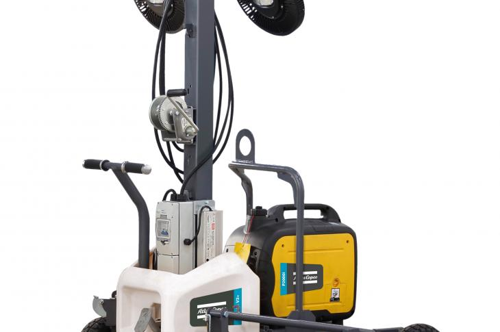 Atlas Copco HiLight V3+ light tower can be powered directly from an auxiliary power source, a portable generator,or the grid.