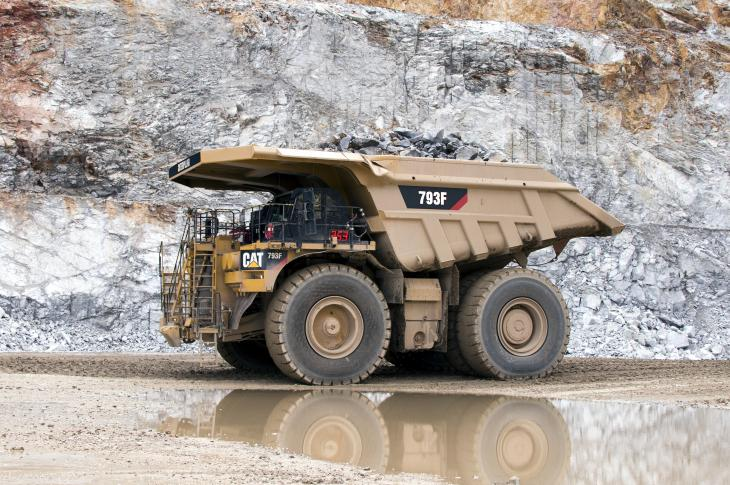 Cat 793F mining truck equipped with a Tier 4-F engine equals its predecessor's performance and burns less fuel.