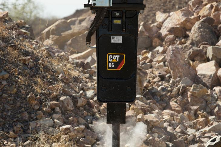"B-Prefix hydraulic hammers, available in B4(s) and B6(s) silenced and B4 and B6 non-silenced versions, are designed for ""plug-and-play"" operation with a range of compact equipment, such as skid steer loaders, multi-terrain loaders, compact track loaders, mini hydraulic excavators (3- to 8-ton operating weights), and backhoe loaders."