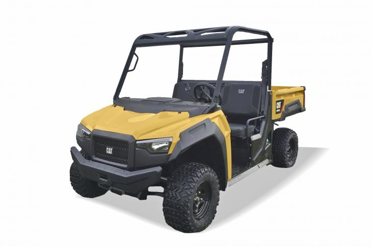 The gasoline-powered Cat CUV82 and diesel-powered CUV102D utility vehicles (UTVs) feature steel cargo beds and offer a 1,000-pound total rear cargo capacity and 2,000-pounds of towing capacity.