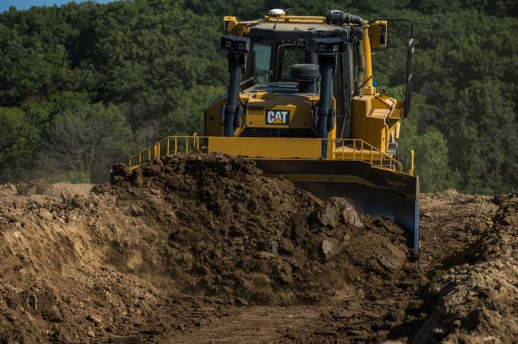 Cat D8T crawler dozer has a 354-horsepower engine.