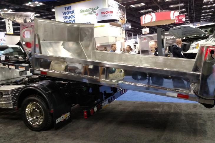 Stainless steel dump body from Switch-N-Go is aimed at municipal customers
