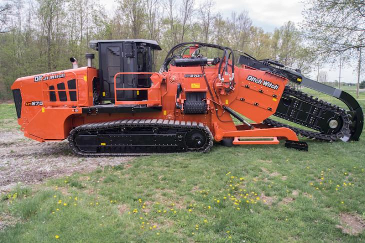 Ditch Witch HT275 trencher handles installations up to 10 feet deep and 26 inches wide.