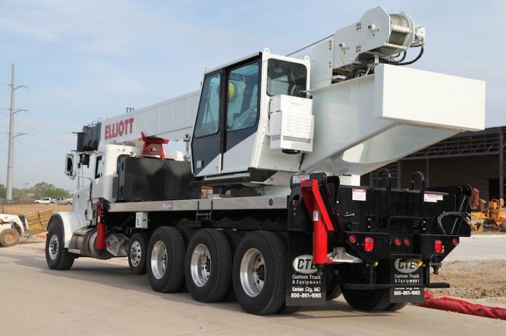 Elliott 45-ton boom truck has a five-section telescopic boom.