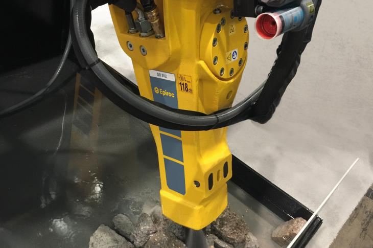 SB series hydraulic breaker attachments come standard with an internal water port for dust suppression.