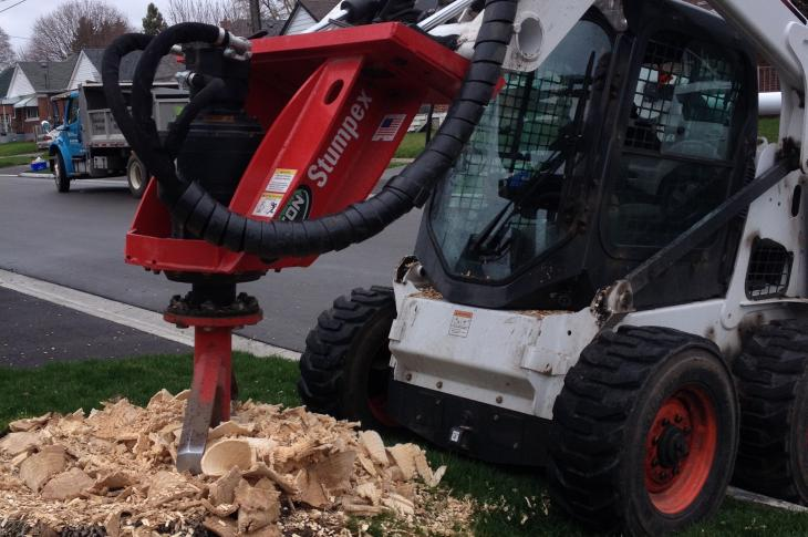 The Stumpex stump grinder for skid steers and backhoe loaders is a low-speed cutting attachment that can work with as little as 20 gpm of hydraulic flow and 2,500 psi of hydraulic pressure.