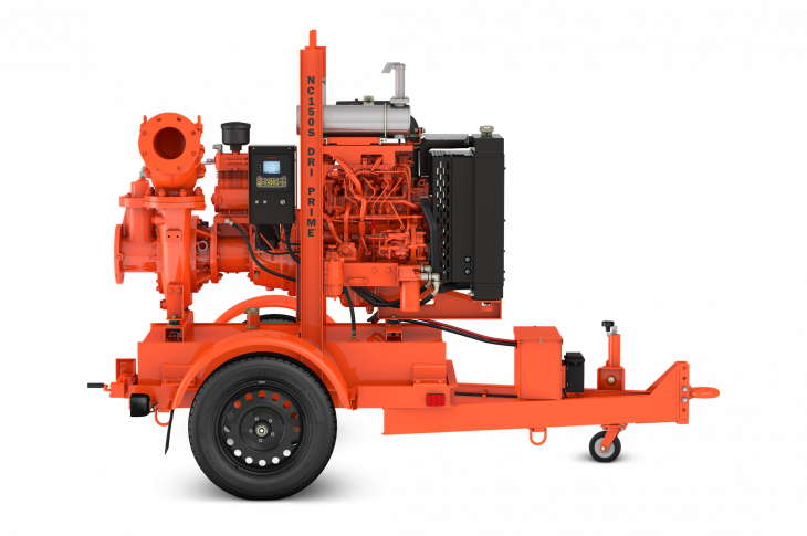 The Godwin NC150S Dri-Prime pump, the first pump in the S Series, is equipped with Isuzu's Tier 4-F 4LE2X industrial diesel engine.