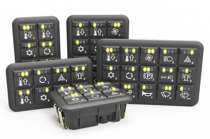 CANbus keypads and MMI Controllers for off-highway vehicles can be customized.