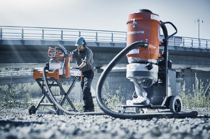 Husqvarna has developed a dry cutting vac attachment for its MS 360 masonry saw (available in both gas and electric versions).