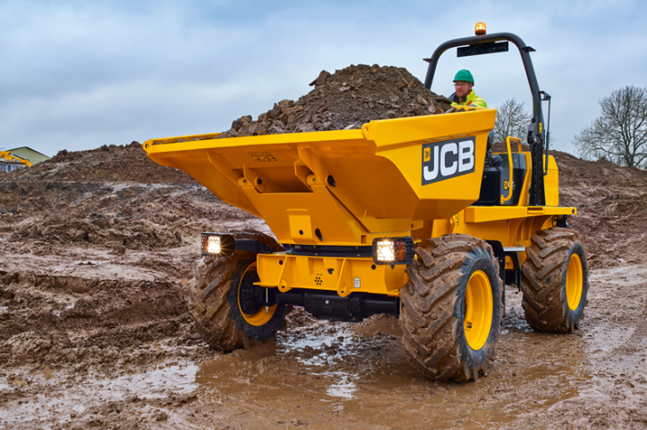 JCB site dumpers include the 6T-1 with either a front- or swivel-tip bucket