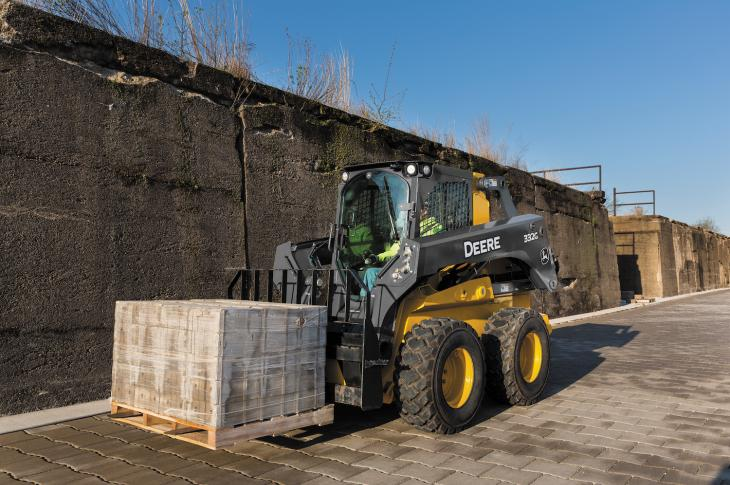The PF45 and PF60 severe-duty pallet forks work with John Deere G Series skid steers as well as G and E Series CTLs.