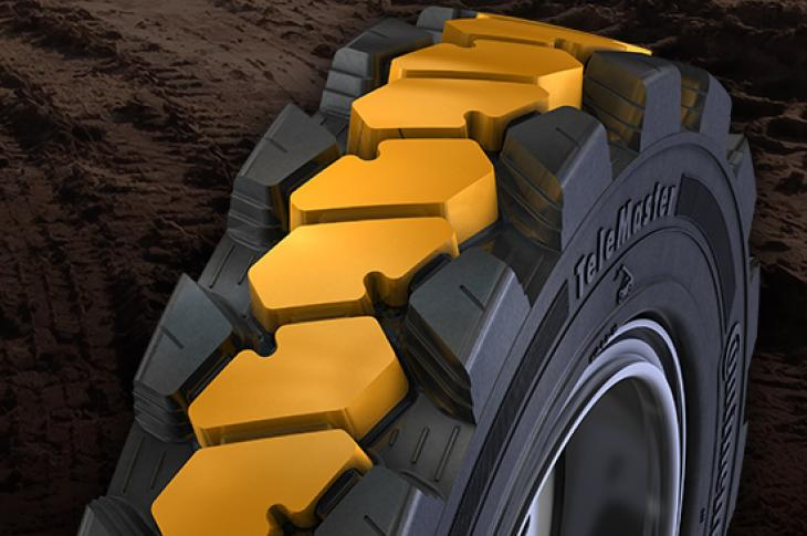 The company has partnered with Continental on TeleMaster solid, flat-proof tires designed for telehandlers.