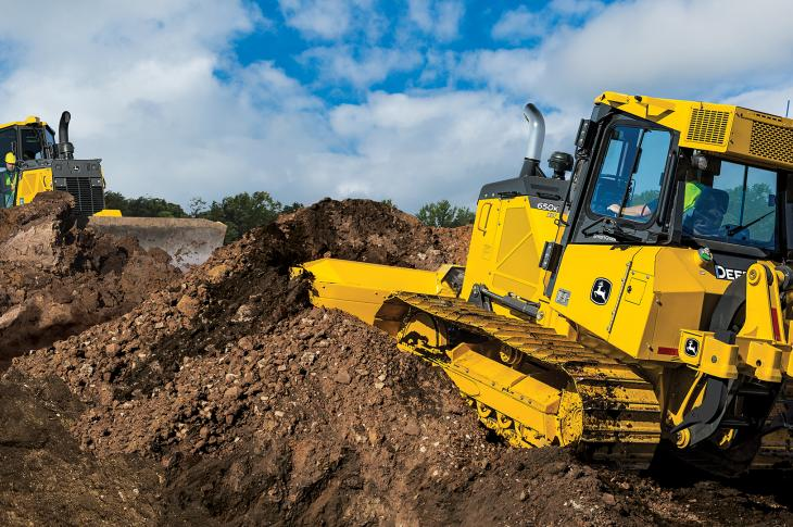 Deere 650K SmartGrade dozer has a 104-horsepower Tier 4-F John Deere engine.