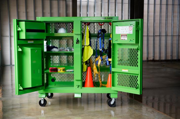 The Safety Kage is three-section ventilated cabinet that offers secure storage space for tools, fall protection, and personal protection equipment (PPE).