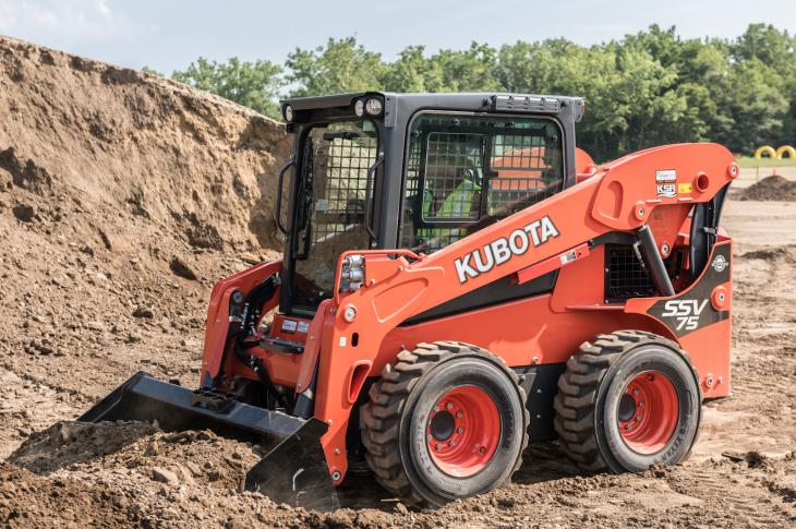 Kubota SSV75 lift arms are reinforced in the coupler area to handle side loading
