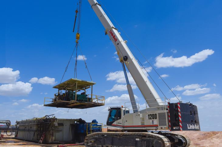 Link-Belt TCC-1200 crawler crane has a base rating of 120 tons.