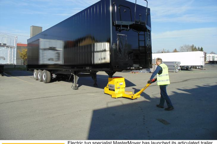 MasterMover has launched its articulated trailer moving system, a pedestrian-operated motorized electric tug that can move loads of up to 2,425 pounds.