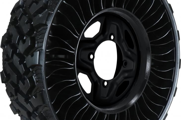 The Michelin X Tweel UTV tire is a 26-inch, airless, radial tire (with a four-bolt-wheel-pattern hub) designed for use on UTVs that are at work in a range of applications, including construction, mining, utility, farming, commercial, and recreational.