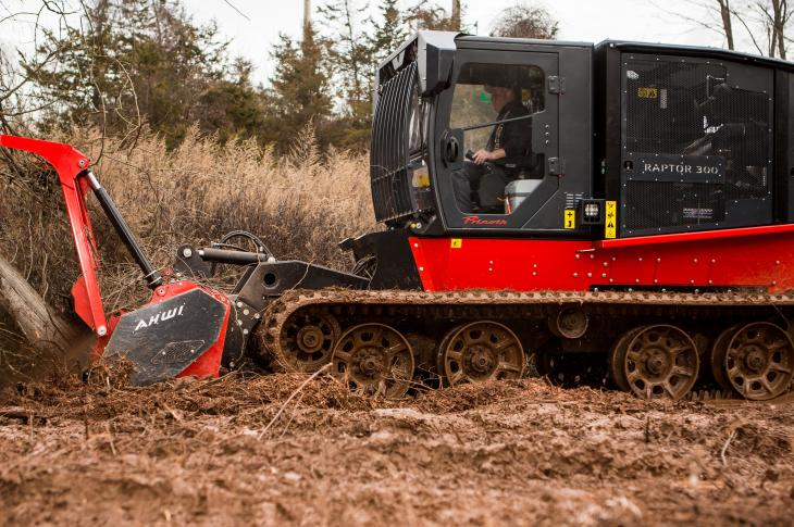 The Raptor 300r rubber-tracked vehicle is designed for right-of-way and utility maintenance.