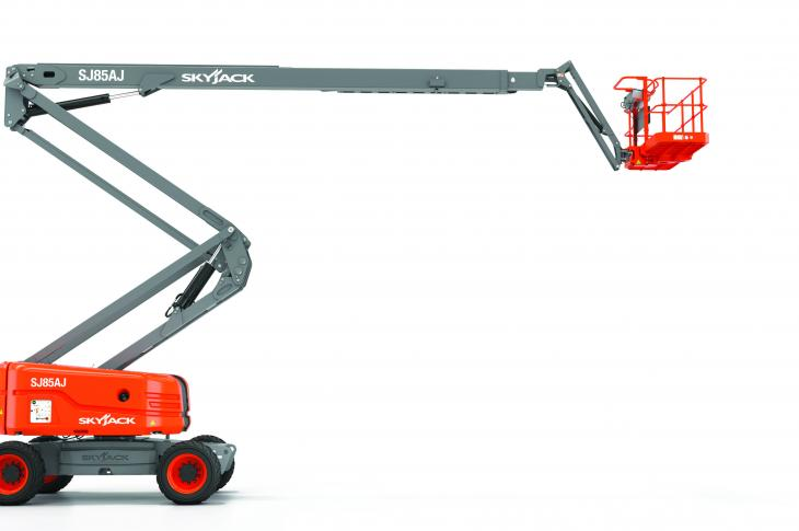 Skyjack SJ85 AJ articulating boom aerial platform is the company's largest.