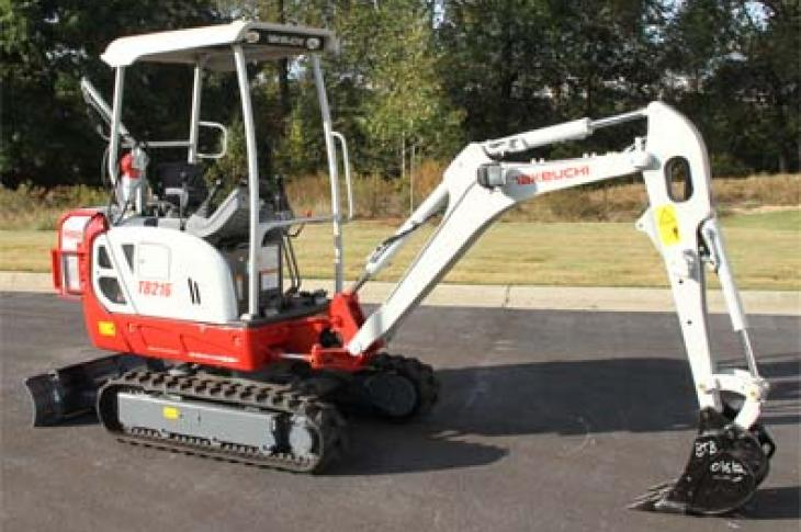 Takeuchi TB216H features both an electric motor and diesel engine