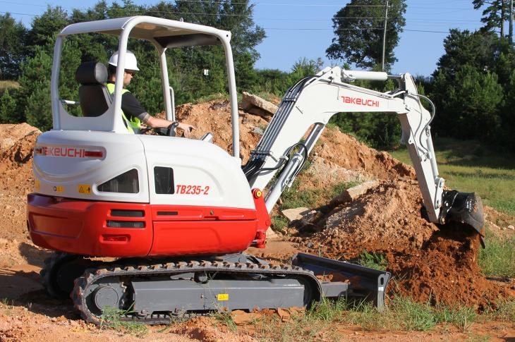 Takeuchi TB2352 compact excavator has an operating weight of 7,474 pounds
