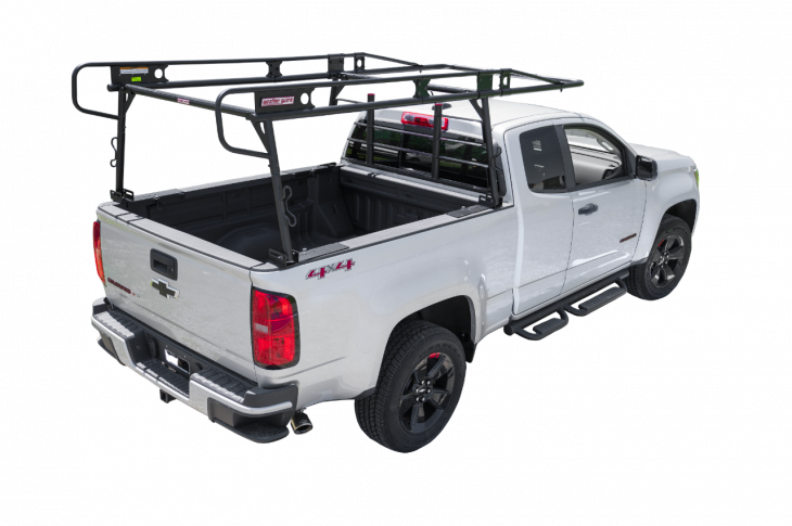 The Compact Steel Truck Rack (Model 1345-52-02) securely installs to the bed rail in less than an hour, the company says, with no drilling required.