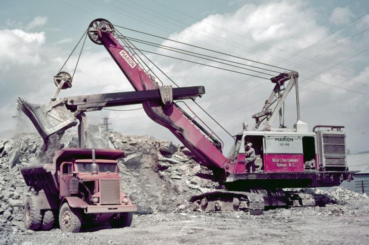111-M shovel loads a Euclid 22-ton end-dump